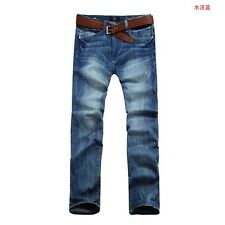 Mens Denim Jeans Washed Straight Leg Classic Regular Fit Trousers Casual Pants