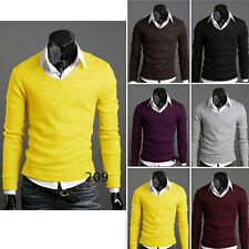 Mens Premium Stylish Slim Fit V-neck Sweater Jumper Tops Cardigan Cothes