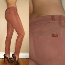 $895 Seven 7 For All Mankind Skinny Nat Lambskin Leather Pants Tan Rose 27 28