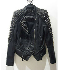 New Women Punk cool spike studded synthetic leather cropped jacket coat