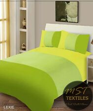 LIME GREEN COLOUR PLAIN STYLISH DESIGN DUVET COVER MICROFIBRE BEDDING SET