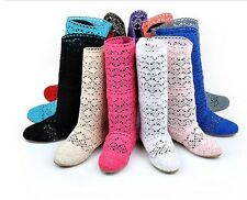 New Vogue Summer Woman Knitting Flat Ankle Sandals Boots Shoes Multicolor LK#XX1