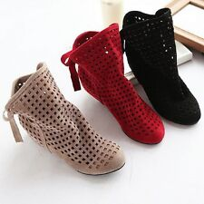 Womens Cut Outs Spring or Summer  Ankle Boots Flat Shoes increase hollow out