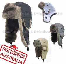 Faux Fur Ear Warmer Flaps Winter Skiing Russian Cap Hat Trooper Rain Proof  L XL