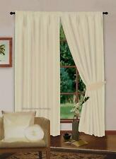 PAIR OF CREAM COLOUR PLAIN FAUX SILK DESIGNER CURTAINS FULLY LINED READY-MADE