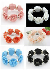 FREE Newest Faux stone/Pearl 1+5 BIG Rose Flower statement bubble Bracelet 2013