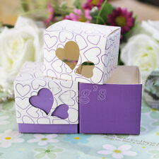 2x2x2 Purple Double Sweet Heart Favor Gifts Candy Box Wedding Party Baby Shower