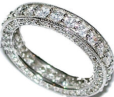 Sterling Silver Diamond Simulated Eternity Ring Wedding Anniversary Band Womens