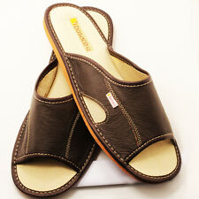 SLIPPERS Scuffs Browns Genuine Leather Size Men's:7, 8, 8.5, 9.5, 10,11, 12 (US)