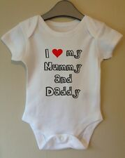 I LOVE MY MUMMY AND DADDY PERSONALISED BABY BODY GROW SUIT VEST GIRL BOY GIFT