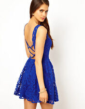 John Zack Skater Dress In Lace With Open Back sizes 6-14  Colbalt Blue for Asos