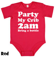 Party, My Crib, 2AM - Baby Grow Boy Girl Babies Clothes Gift Funny Cool Present