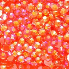 Red AB 2-7mm Jelly Acrylic Flatback Rhinestone Scrapbook Nail Art Craft