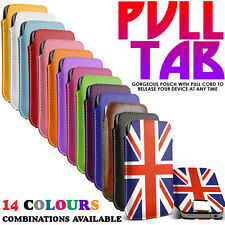 Pull Out Tab Soft PU Leather Flip Slide In Case Cover Pouch Sleeve