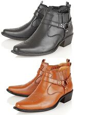 NEW MENS LEATHER LOOK CUBAN HEEL WESTERN HI ANKLE COWBOY ANKLE BOOTS