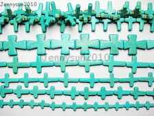 Blue Howlite Turquoise Gemstone Cross Loose Beads 16'' Strand Pick Sizes