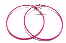 2.75 INCH HOOP EARRINGS SIMPLE THIN HOOP EARRINGS ASSORTED COLOR HOOPS