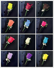 Set of 6 Silk Boutonniere/bout/wedding/groom/prom *PICK YOUR COLOR*Flowers rose
