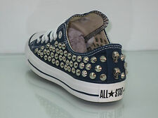 Converse all star OX  borchie teschi  scarpe donna uomo bianco optical white