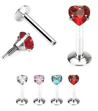 "18g 1/4"" 5/16"" or 3/8"" ~ CZ HEART ~ Tragus Cartilage Helix Piercing Stud Earring"