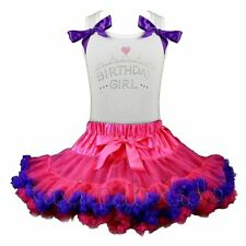 Pettiskirt Tutu 2 Piece Set Boutique Birthday Girl Crown Hearts NWT 1-8/9 Yr