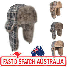 1 Faux Fur Ear Warmer Flaps Winter Skiing Russian Aviator Cap Hat Trooper CHECK