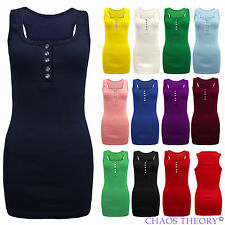 Ladies Stretch Bodycon Womens Plain Ribbed Racer Back Muscle Rib Vest Top 8-14