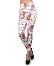 Soho Bold Floral Pink and White Print Leggings  (L5060)