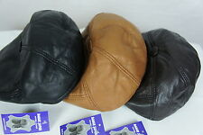 NEW 100% LEATHER 5/4 Driving Cap Newsboy Hat Golf Ivy Gatsby Flat Cabbie M-3XL