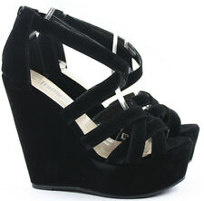 Womens Platform High Heel Strappy Wedges Peeptoe Party Wedge Sandals Shoes Size