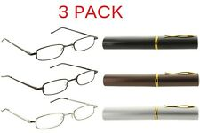 Fiore 3 Pack Tube Reading Glasses w/ Aluminum Pocket Clip Case 1.00-3.00