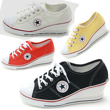 Trainers Sneakers Platform Heels Wedge Low Top Lace Women's Shoes Girls Canvas