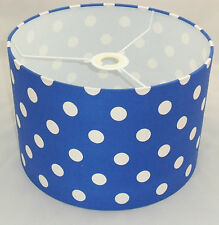 Hand Made Royal Blue Cotton Lampshade With White Polka-Dot Design