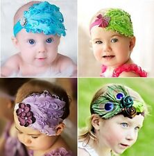 Infant Baby Toddler Feather Flower Diamond Hair Band Headband Headwear 8 Designs