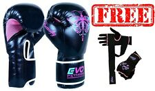 Evo Fitness Ladies Pink GEL Boxing Gloves MMA Punch Bag Leather Sparring Glove