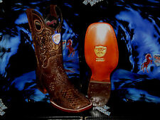 WILD WEST GENUINE PYTHON SNAKE SQUARE BROWN RODEO WESTERN COWBOY BOOT 2825707