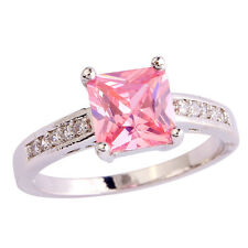 Princess Cut Pink & White Topaz Gemstone Silver Ring Size 7 8 9 10 Free Shipping