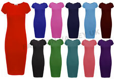 NEW WOMENS LADIES JERSEY MIDI DRESS PLAIN BODYCON CAP SLEEVE SIZE 8-14