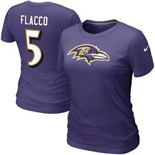 Nike Joe Flacco Baltimore Ravens #5 Women's Name & Number T-Shirt - Purple