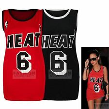 WOMENS HEAT 6 VARSITY PRINT LADIES CELEBRITY INSPIRED BASKETBALL JERSEY VEST TOP