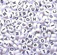 100pcs White A-Z Acrylic Flat Round Alphabet Single Letter Spacer Beads 7X4MM