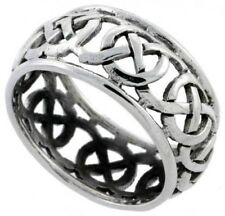 "925 Sterling Silver Celtic Knot Wedding Band / Thumb Ring, 3/8"" Wide"