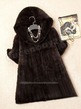 NEW!!100% Real Knitted Mink Fur Jacket Sweater Coat Poncho Outwear Hoody Fashion