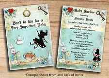 Alice in Wonderland Baby Shower Birthday Invitations Cheap Printable PDF Invites