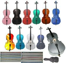 NEW STUDENT CELLO,BAG+ROSIN,STRINGS,BRIDGE+TUNER 4/4 3/4 1/2 1/4 1/8 1/10 1/16