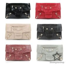 Korean Fashion Motor Bag Clutch Studded Shoulder CrossBody Handbag Purse w/Strap
