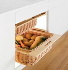 Kitchen Beech Wicker Basket Storage Set Pair 400,450, 500 Or 600mm Width Runners
