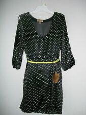 Princess Vera Wang Black and Neon Green Belted Dress Junior's 0, 5, 7, 9, NWT