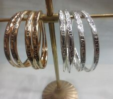 "Bee Jewellery ""Gold/Silver Engraved Sentiment Bangles"".  One Size.  2 COLOURS."