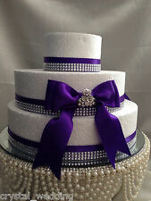 CRYSTAL BROOCH & DIAMANTE RIBBON CAKE TOPPER PACK FOR WEDDING CAKE